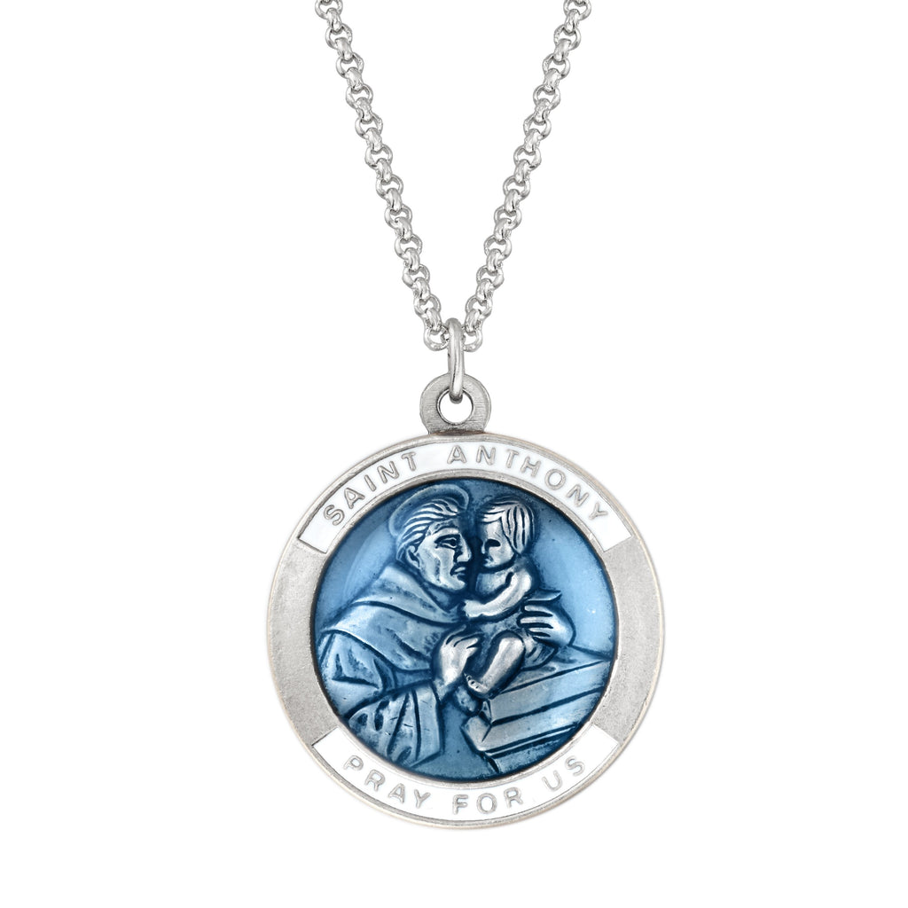 Saint Anthony Necklace choose finish:silver plated