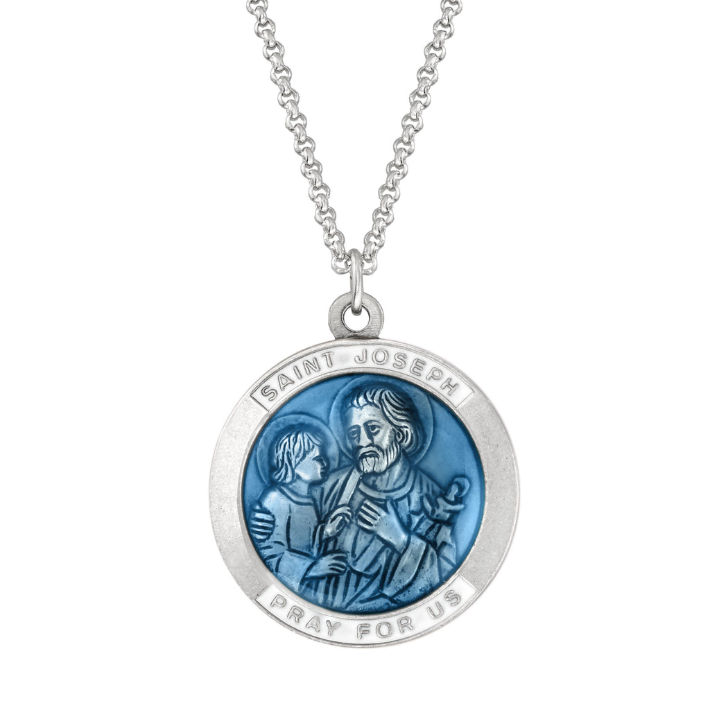 Saint Joseph Necklace choose finish:silver plated