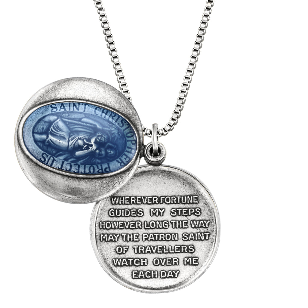 Saint Christopher Locket choose finish:silver plated