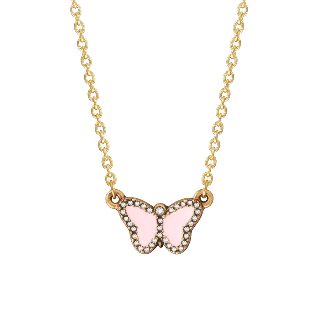 Crystal Pave Butterfly Necklace in Cotton Candy choose finish:18k Gold Plated