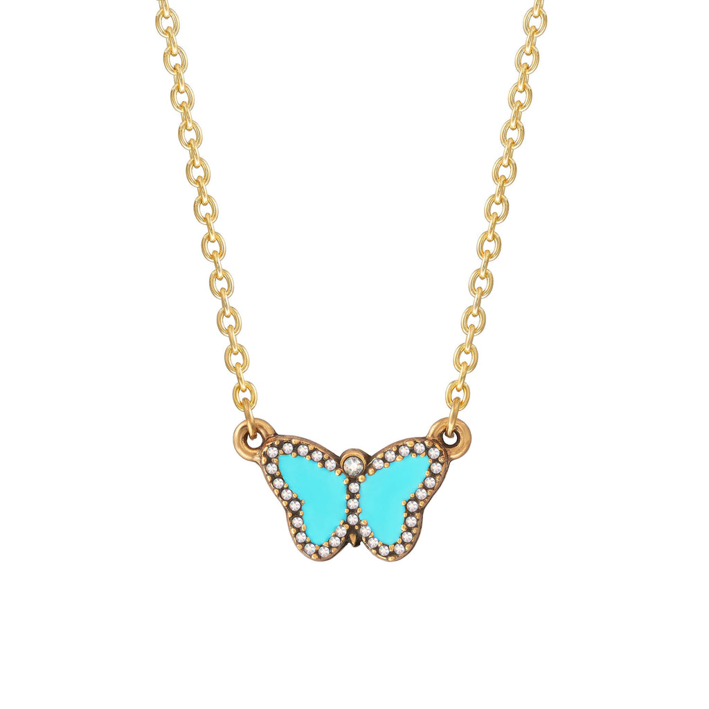 Crystal Pave Butterfly Necklace in Teal choose finish:18k Gold Plated