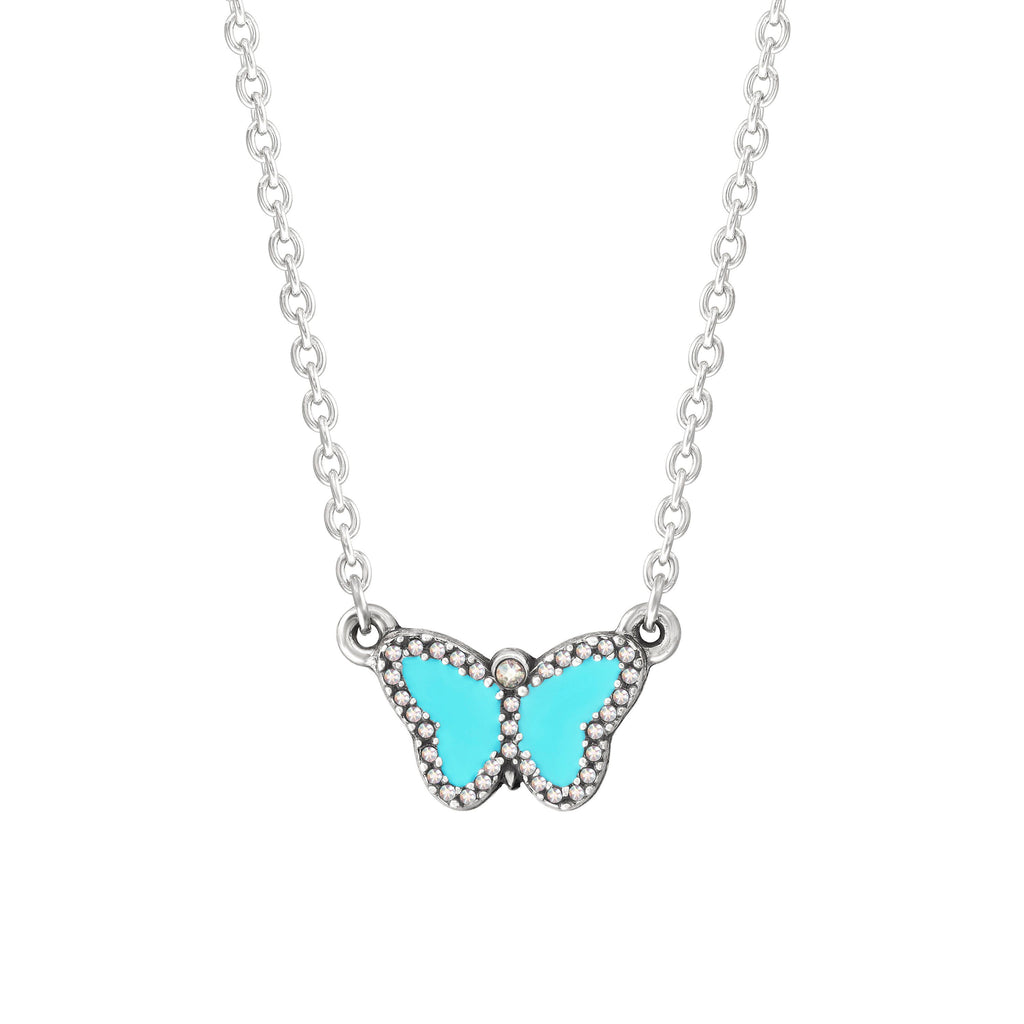 Crystal Pave Butterfly Necklace in Teal choose finish:Silver Plated