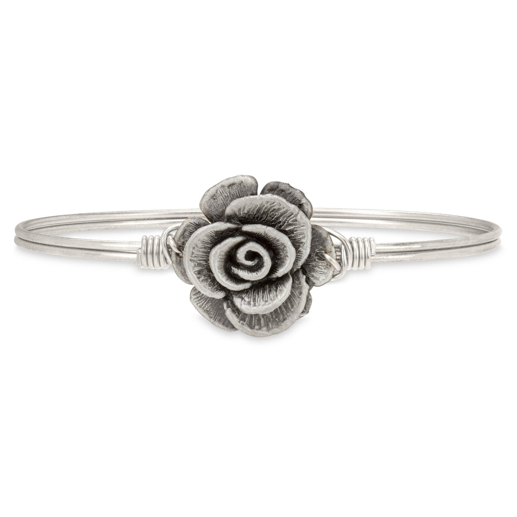 Rose Bangle Bracelet finish:Silver Tone