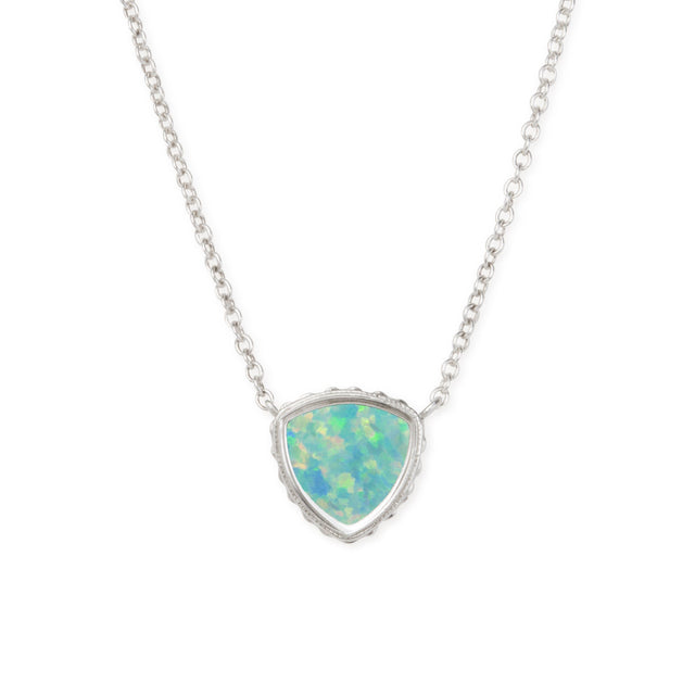 Sterling Silver Trillion Necklace In Sea Foam Opal-Precious Metals Pendant-finish:Sterling Silver-Luca + Danni