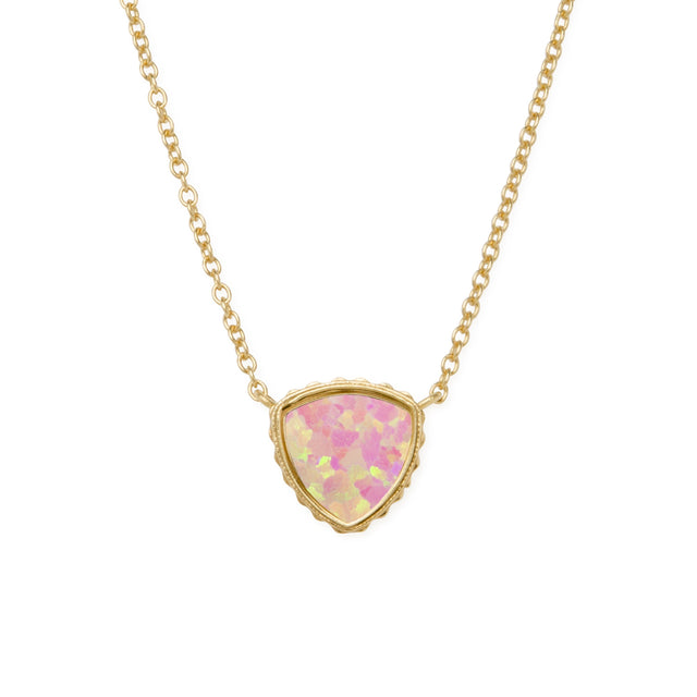 Sterling Silver Trillion Necklace In Pink Opal-Precious Metals Pendant-finish:18kt Gold Plated-Luca + Danni