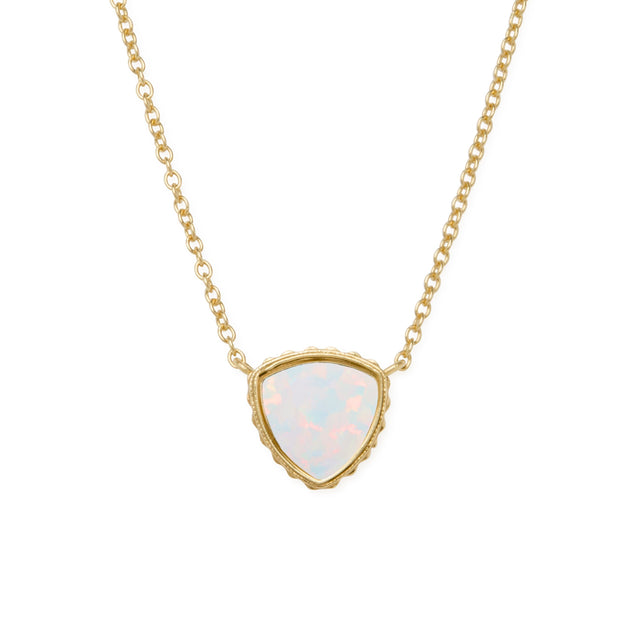 Sterling Silver Trillion Necklace In White Opal-Precious Metals Pendant-finish:18kt Gold Plated-Luca + Danni