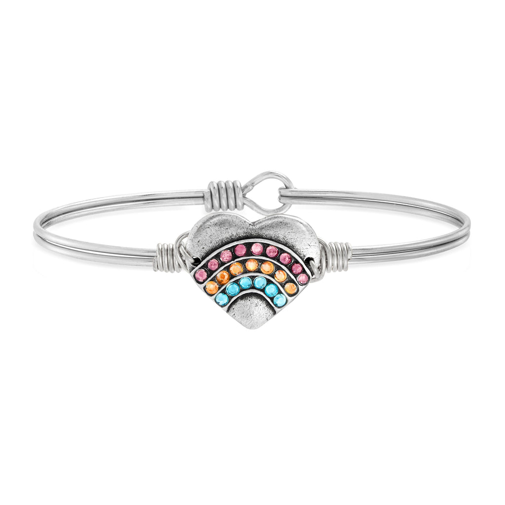 Heart Bangle Bracelet with Ombre Crystals