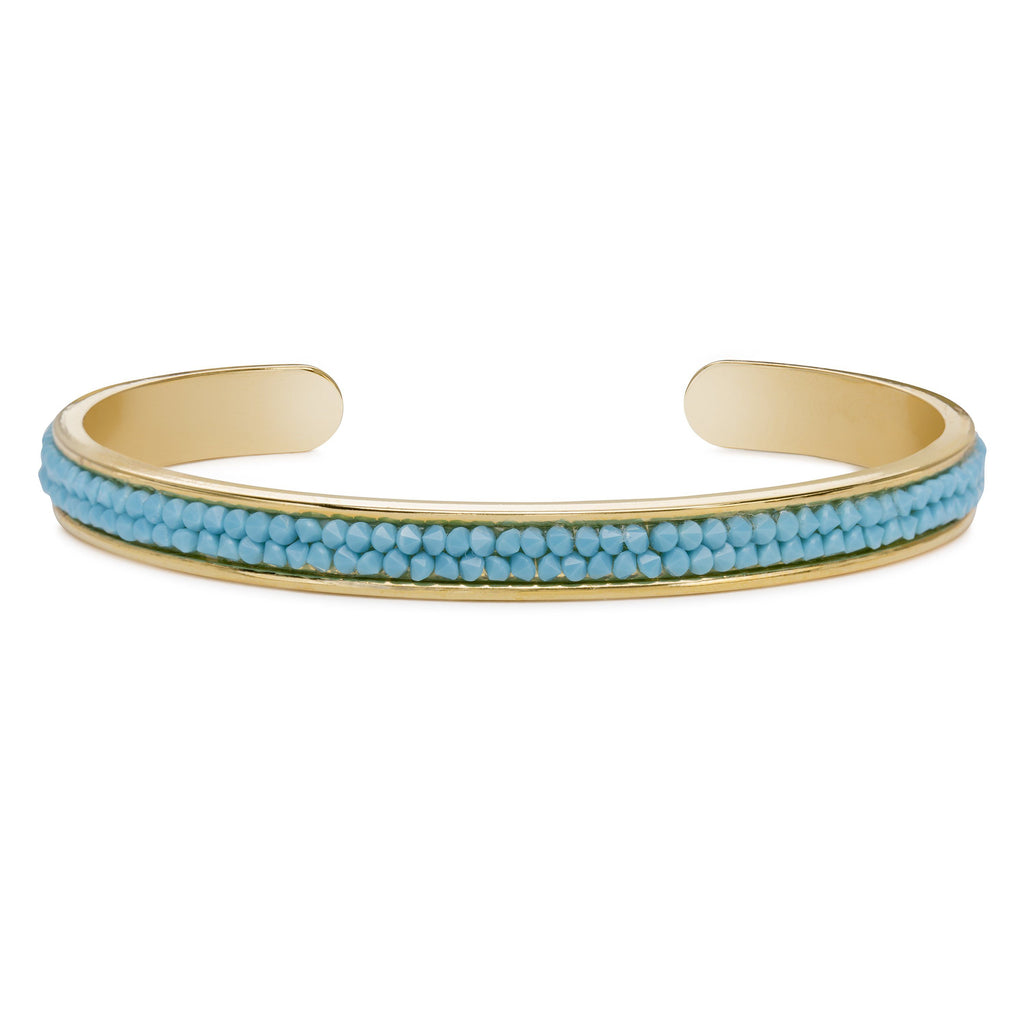Druzy Channel Cuff in Turquoise-Cuff Bracelet-finish:18kt Gold Plated-Luca + Danni