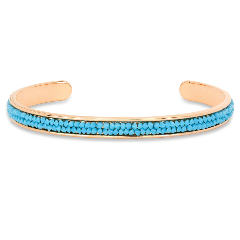 Druzy Channel Cuff in Turquoise finish:Rose Gold Plated