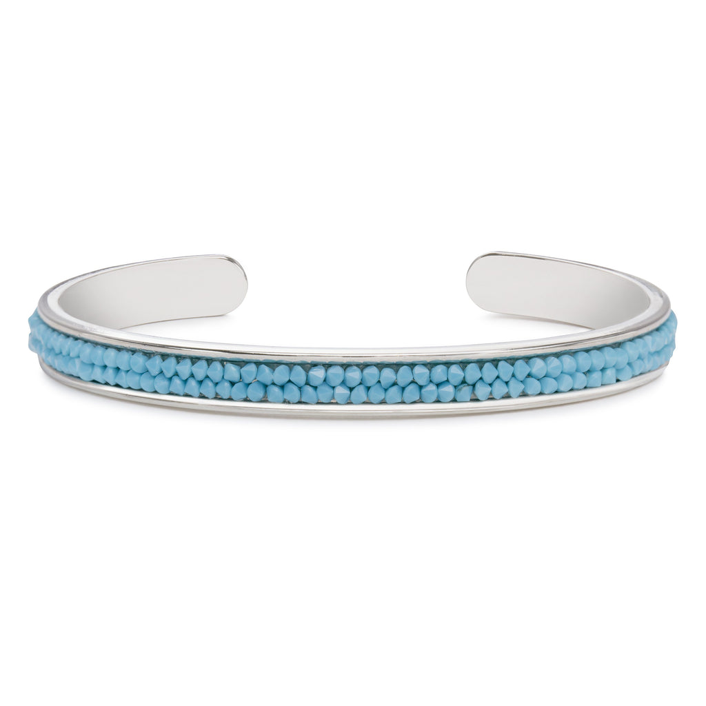 Druzy Channel Cuff in Turquoise-Cuff Bracelet-finish:Silver Plated-Luca + Danni