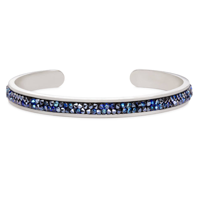 Druzy Channel Cuff in Metallic Blue
