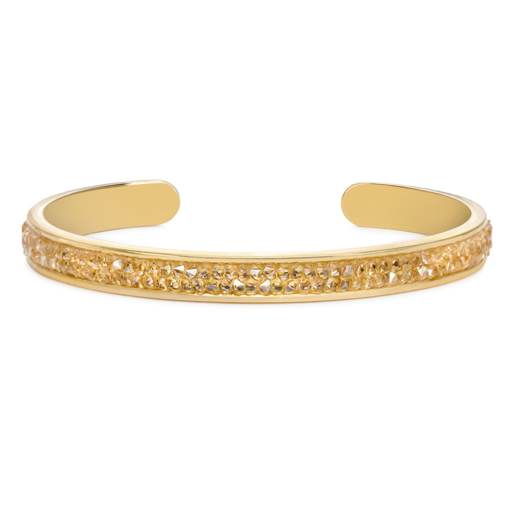 Druzy Channel Cuff in Champagne-Cuff Bracelet-finish:18kt Gold Plated-Luca + Danni