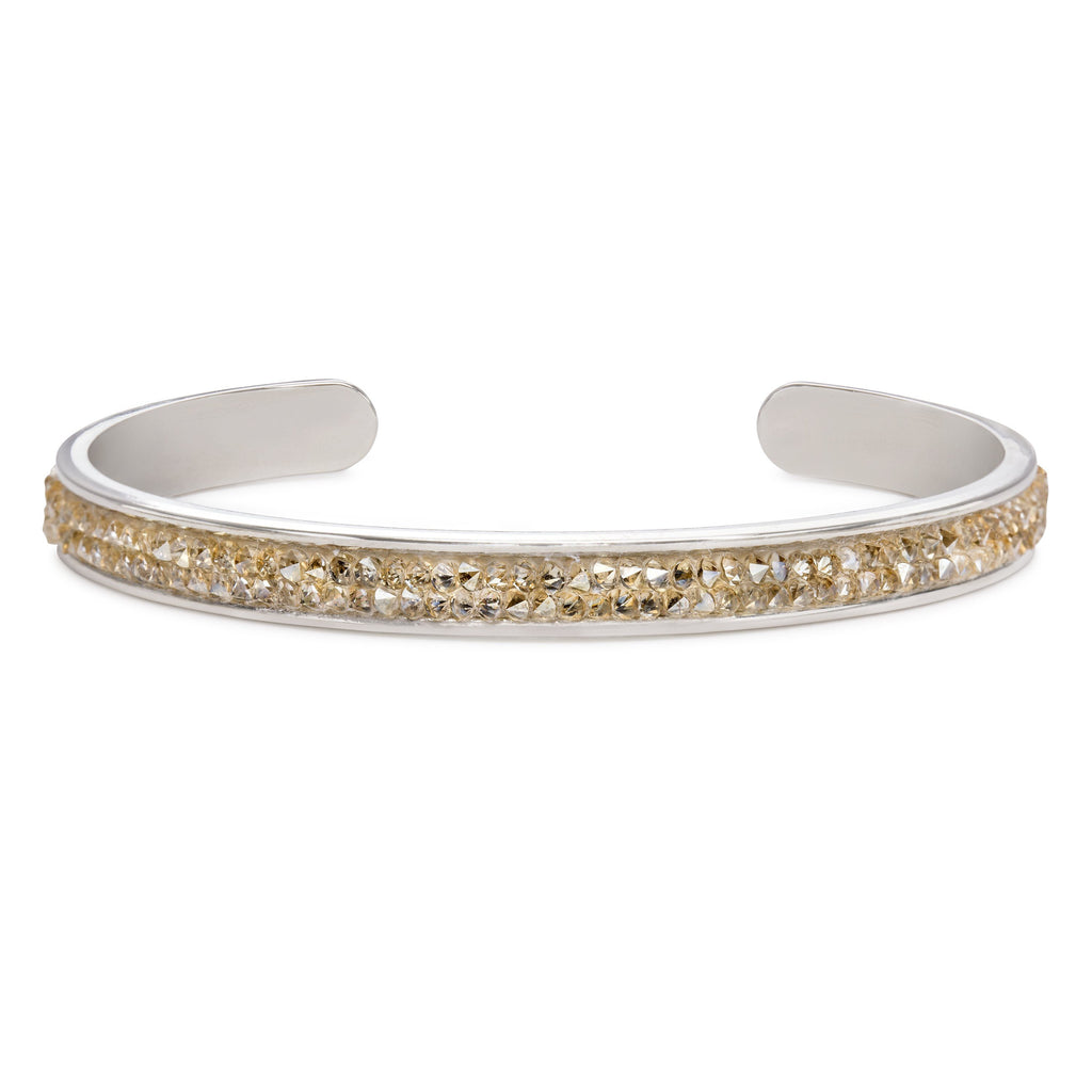 Druzy Channel Cuff in Champagne-Cuff Bracelet-finish:Silver Plated-Luca + Danni