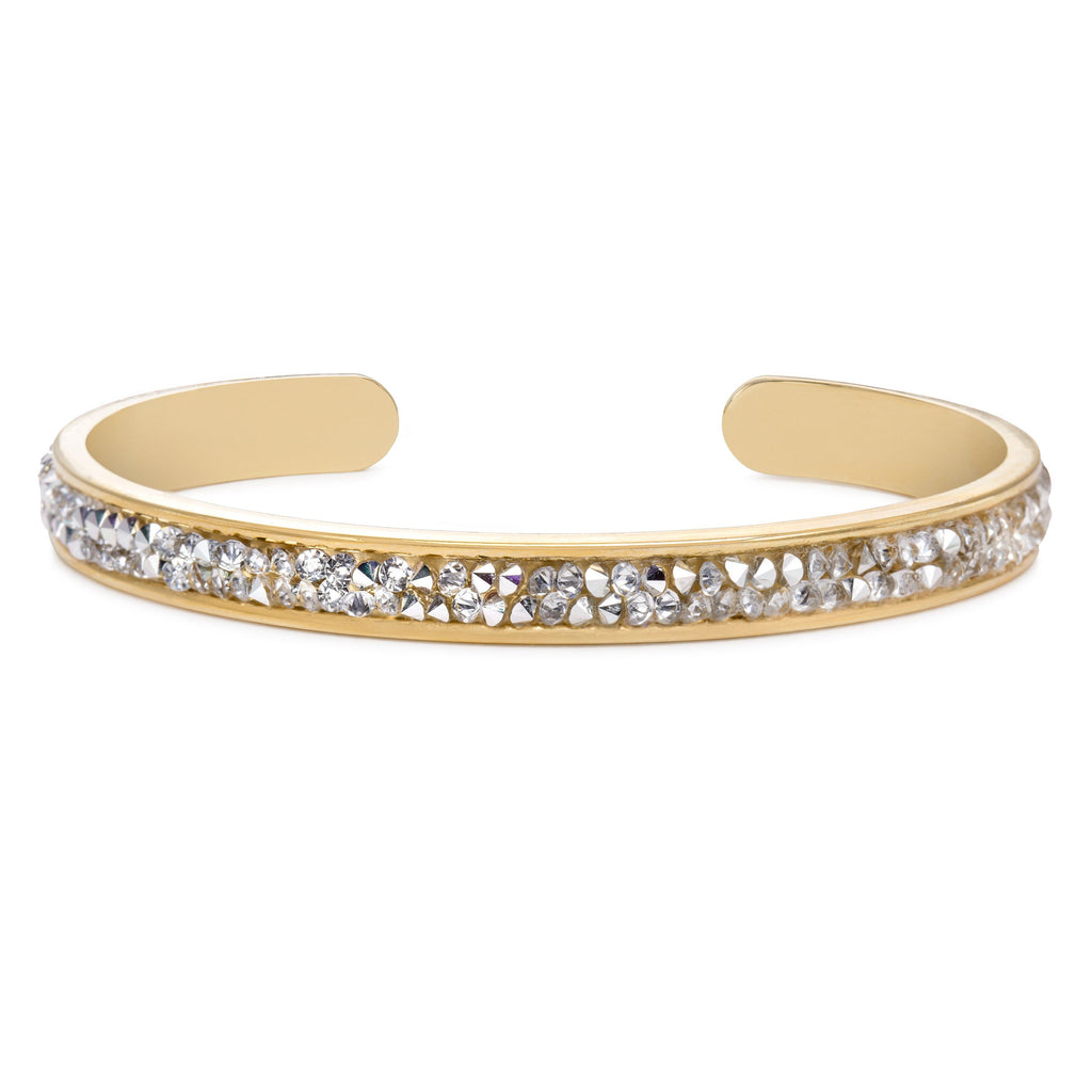 Druzy Channel Cuff in Metallic Silver-Cuff Bracelet-finish:18kt Gold Plated-Luca + Danni