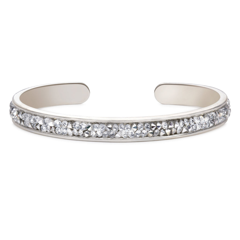 Druzy Channel Cuff in Metallic Silver-Cuff Bracelet-finish:Silver Plated-Luca + Danni