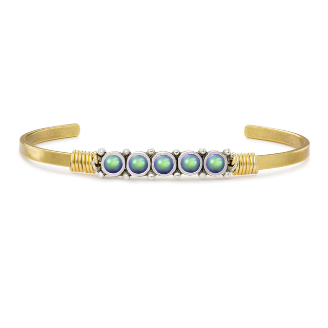 Crystal Pearl Cuff in Scarabaeus Green finish:Brass Tone