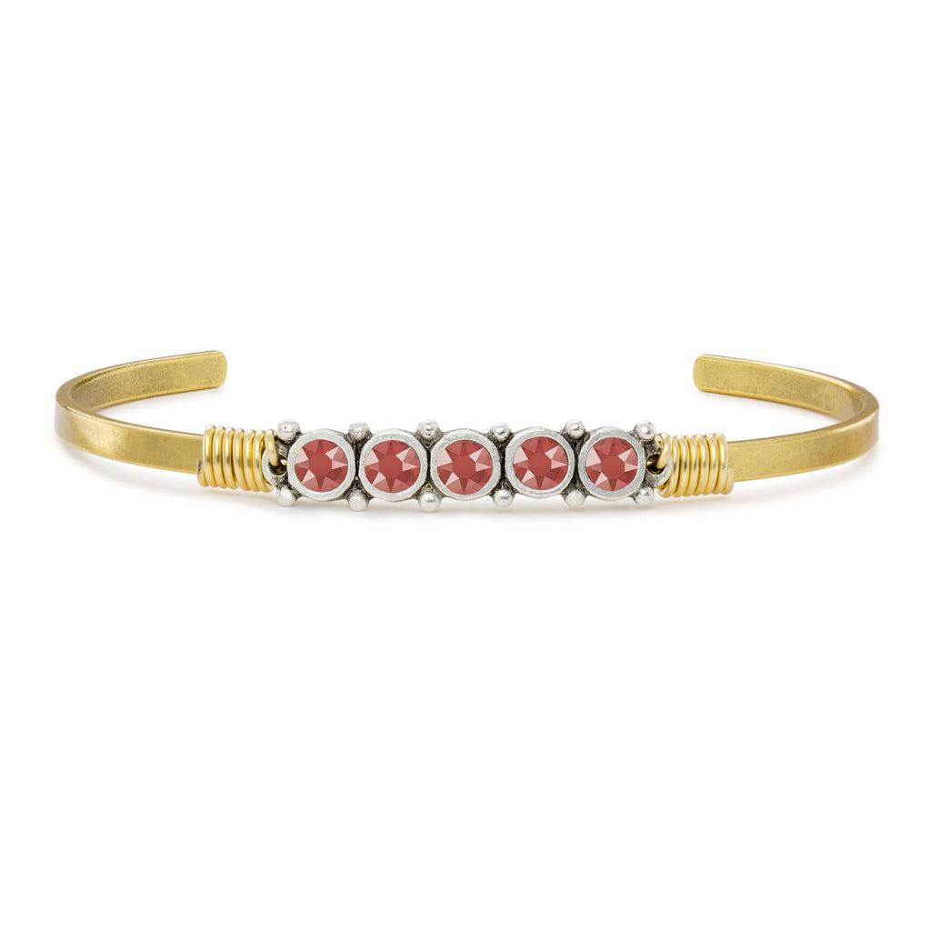 Crystal Cuff in Living Coral finish:Brass Tone