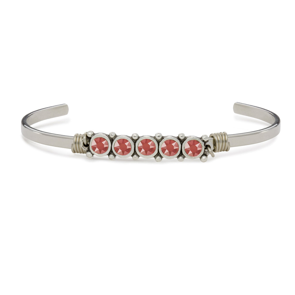 Crystal Cuff in Living Coral finish:Silver Tone