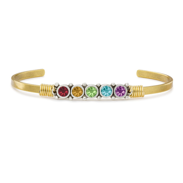 Crystal Cuff Bracelet in Rainbow finish:18k Gold Plated