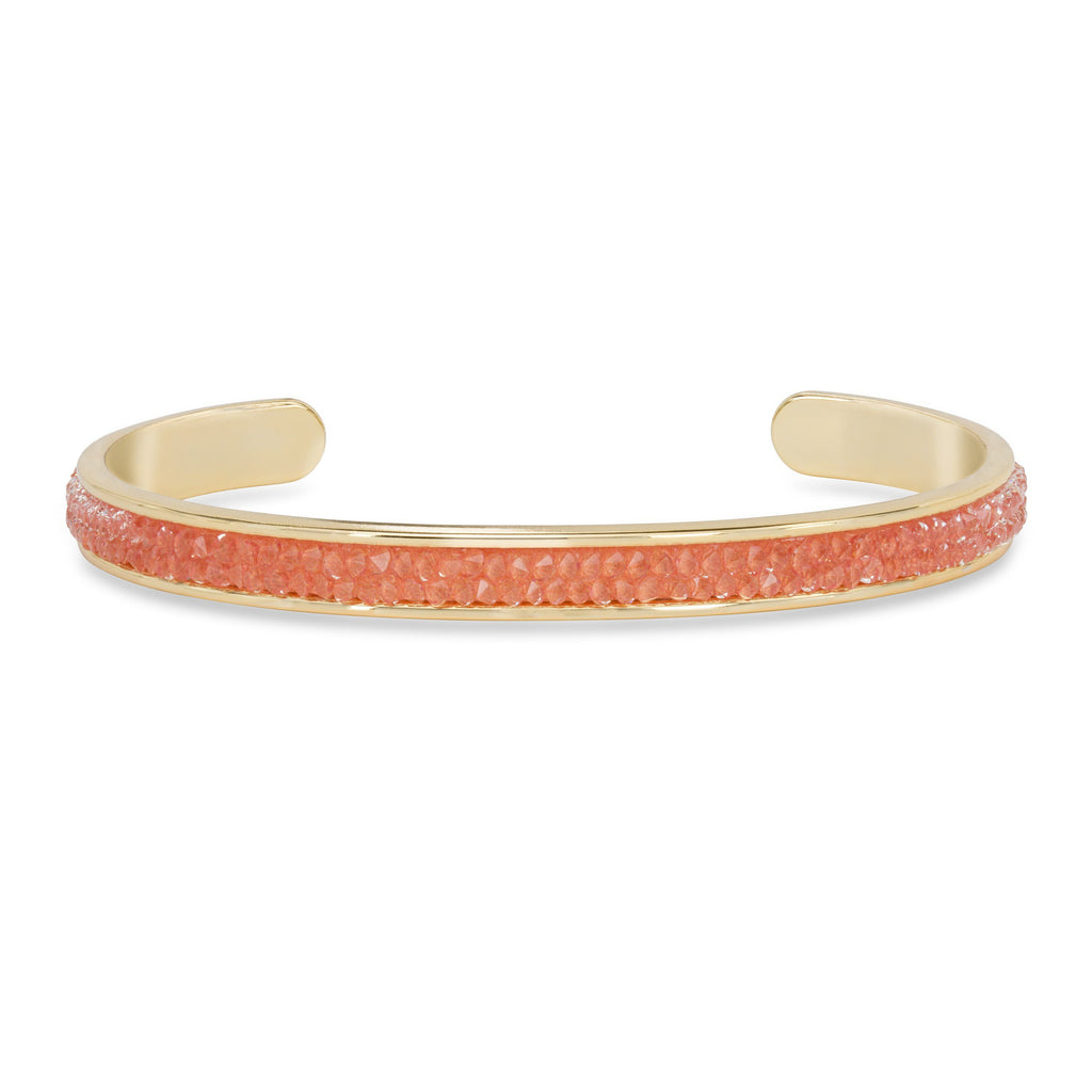 Druzy Channel Cuff in Coral finish:18k Gold Plated