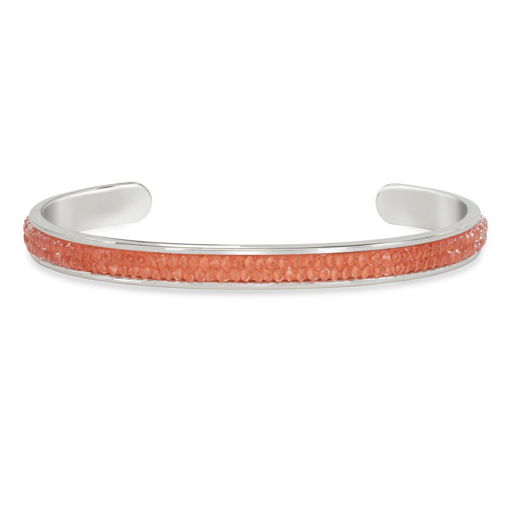 Druzy Channel Cuff in Coral finish:Silver Plated
