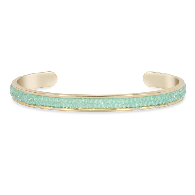Druzy Channel Cuff in Mint finish:18k Gold Plated