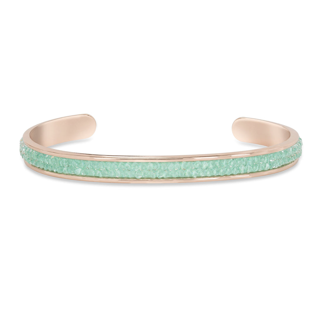 Druzy Channel Cuff in Mint finish:Rose Gold Plated