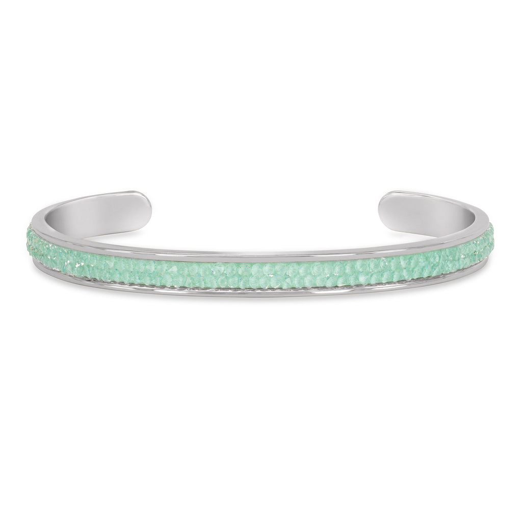 Druzy Channel Cuff in Mint finish:Silver Plated