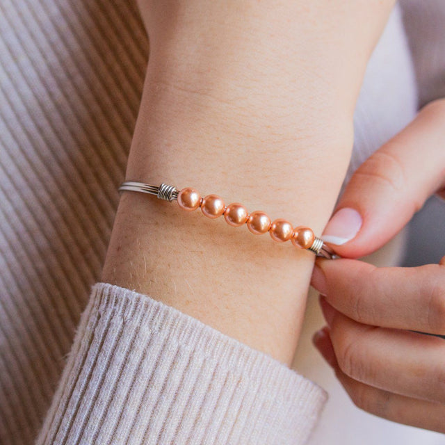 Crystal Pearl Bangle Bracelet in Peach