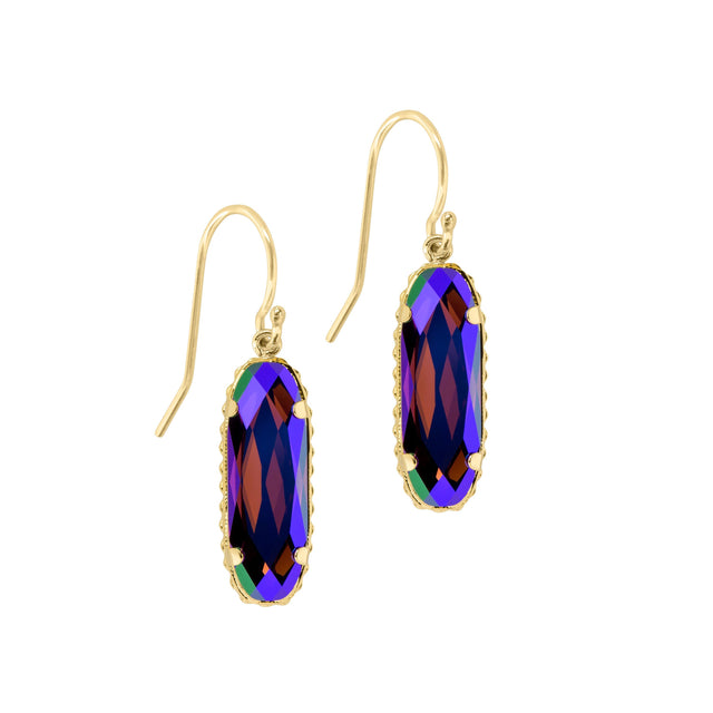 Sterling Silver Willow Earrings In Amethyst AB-Precious Metals Earrings-finish:18kt Gold Plated-Luca + Danni