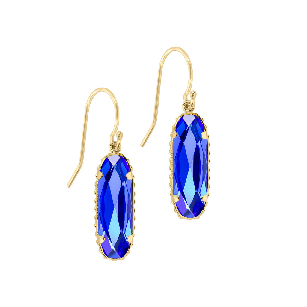 Sterling Silver Willow Earrings In Majestic Blue-Precious Metals Earrings-finish:18kt Gold Plated-Luca + Danni