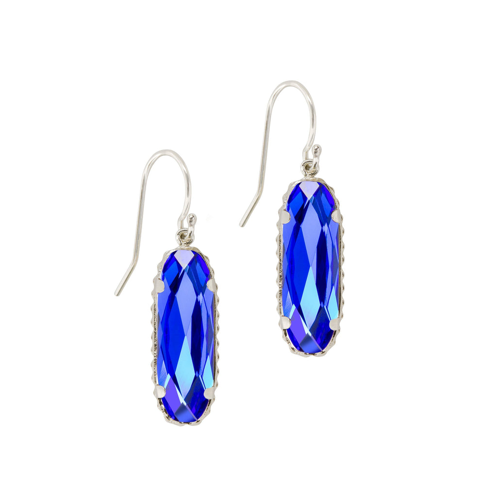 Sterling Silver Willow Earrings In Majestic Blue-Precious Metals Earrings-finish:Sterling Silver-Luca + Danni