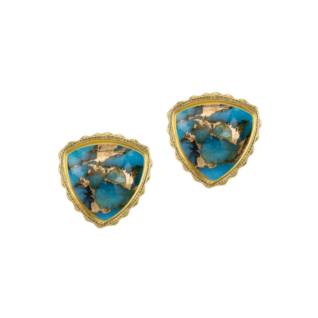 Sterling Silver Trillion Earrings in Turquoise Matrix finish:18k Gold Plated