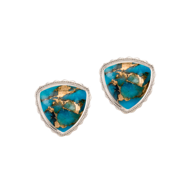Sterling Silver Trillion Earrings in Turquoise Matrix finish:Sterling Silver
