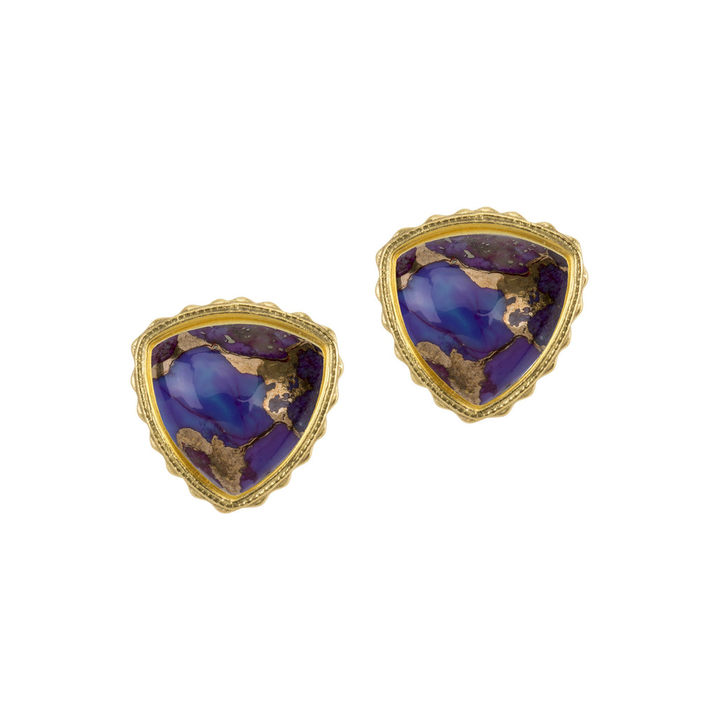 Sterling Silver Trillion Earrings in Purple Matrix finish:18k Gold Plated