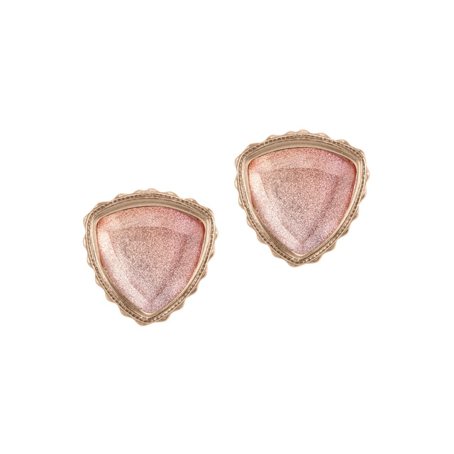 Sterling Silver Trillion Earrings in Crystal Morganite