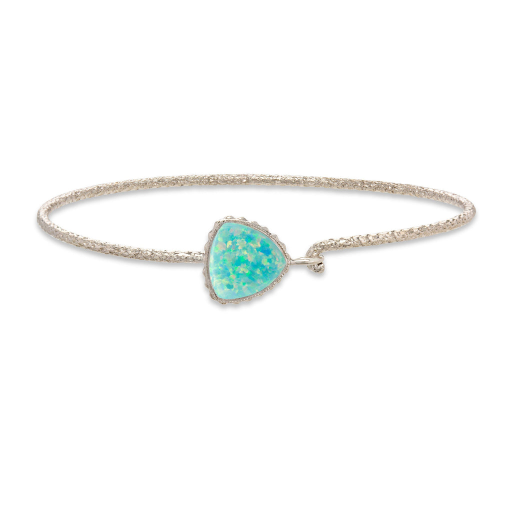 Sea Foam Opal Plain Wire Bracelet in Rhodium