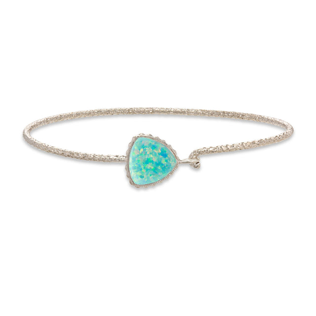 Sterling Silver Trillion Bangle Bracelet In Sea Foam Opal-Precious Metals Bracelet-Regular-finish:Sterling Silver-Luca + Danni