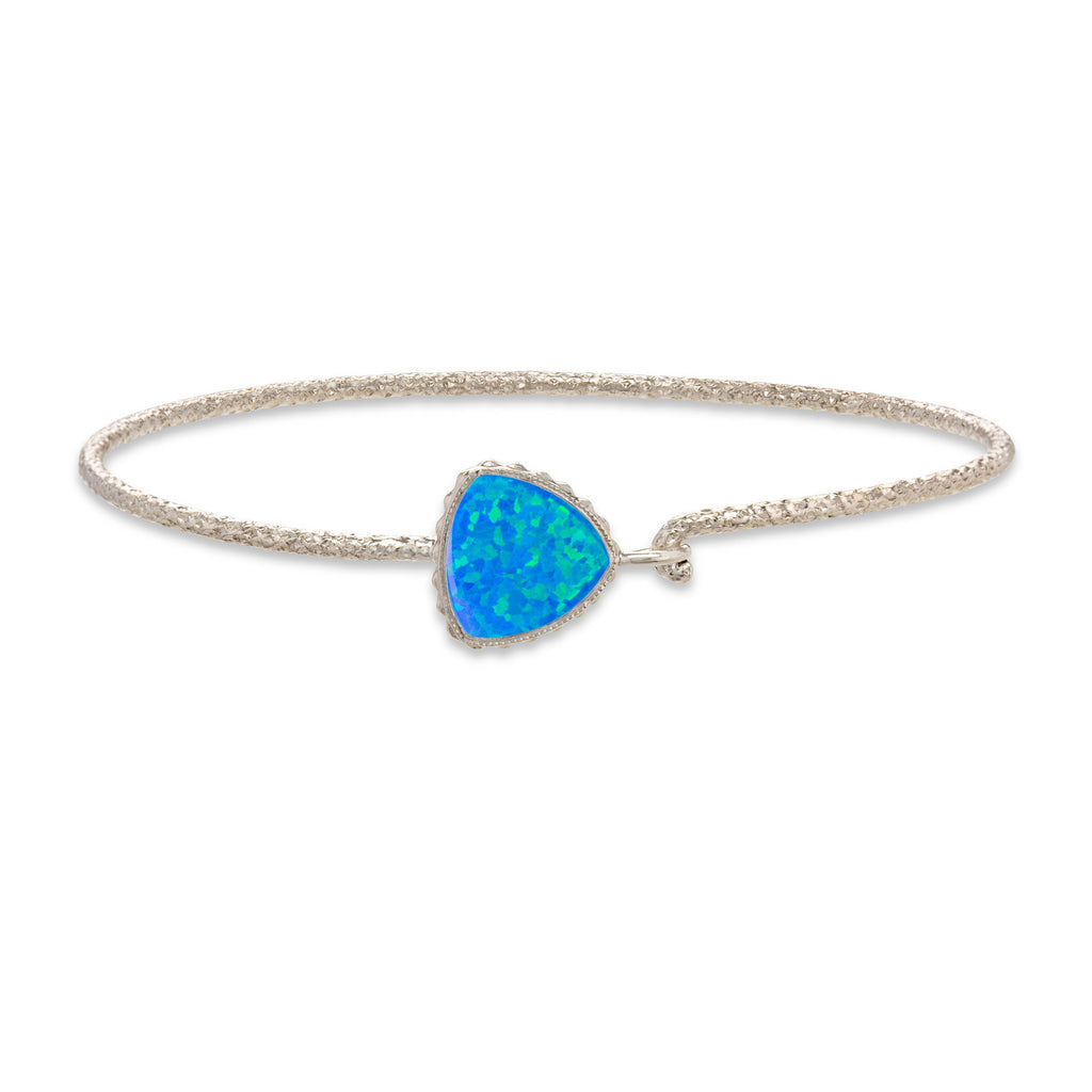 Pacific Opal Plain Wire Metal Bracelet in Rhodium Finish