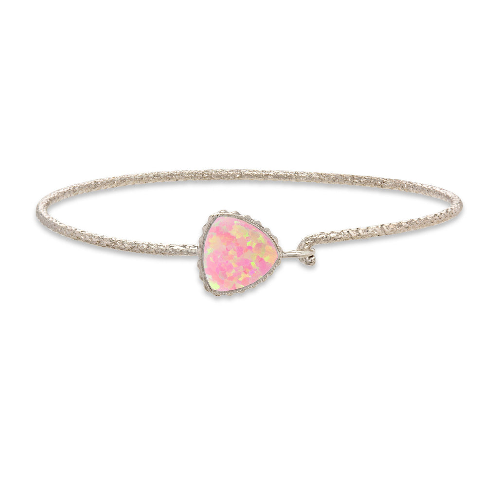 Sterling Silver Trillion Bangle Bracelet In Pink Opal-Precious Metals Bracelet-Regular-finish:Sterling Silver-Luca + Danni
