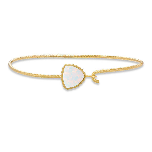 Sterling Silver Trillion Bangle Bracelet In White Opal-Precious Metals Bracelet-Regular-finish:18kt Gold Plated-Luca + Danni
