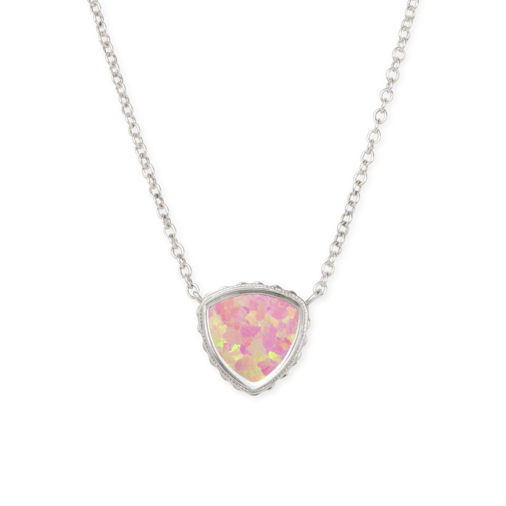 Sterling Silver Trillion Necklace In Pink Opal-Precious Metals Pendant-finish:Sterling Silver-Luca + Danni