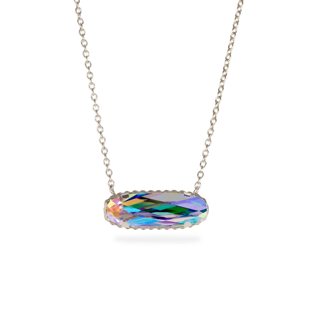 Sterling Silver Willow Necklace In Crystal AB-Precious Metals Pendant-finish:Sterling Silver-Luca + Danni