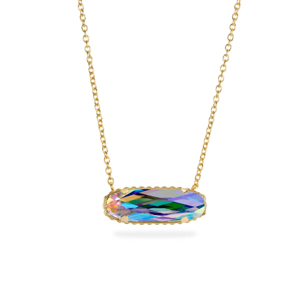 Sterling Silver Willow Necklace In Crystal AB-Precious Metals Pendant-finish:18kt Gold Plated-Luca + Danni