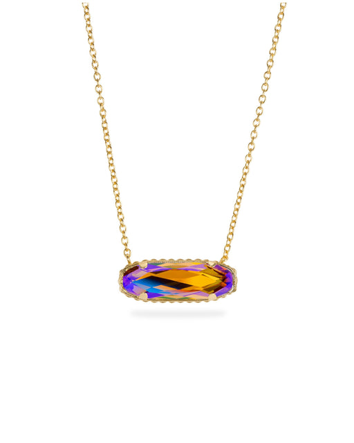 Sterling Silver Willow Necklace In Champagne AB-Precious Metals Pendant-finish:18kt Gold Plated-Luca + Danni