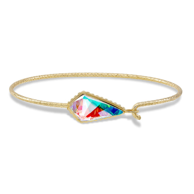 Sterling Silver Sloane Bangle Bracelet In Crystal AB-Bangle Bracelet-Regular-finish:18kt Gold Plated-Luca + Danni