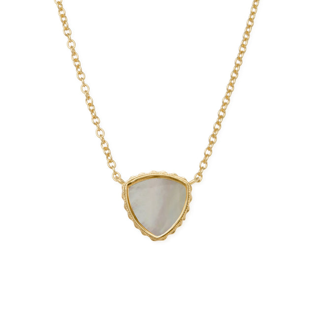 Sterling Silver Trillion Necklace In Mother of Pearl-Precious Metals Pendant-finish:18kt Gold Plated-Luca + Danni