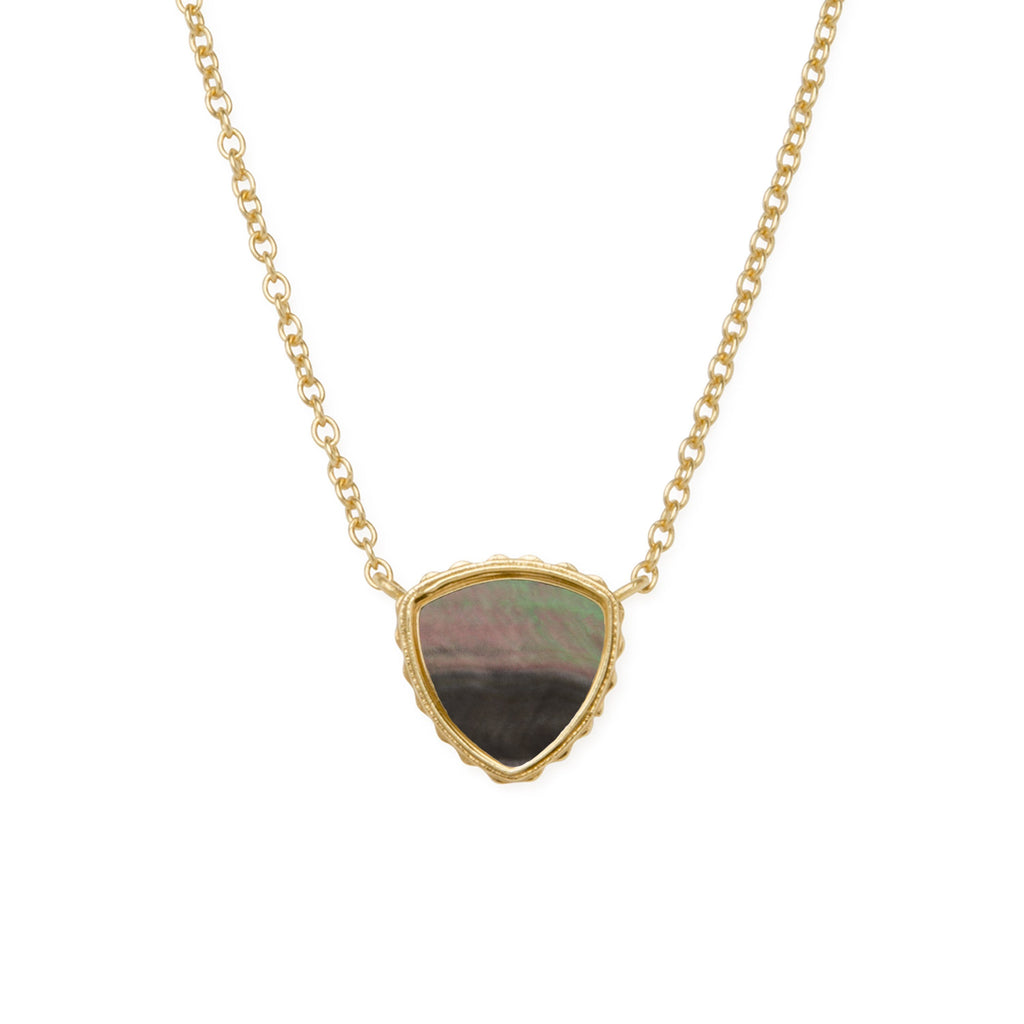 Sterling Silver Trillion Necklace In Tahiti Mother of Pearl-Precious Metals Pendant-finish:18kt Gold Plated-Luca + Danni