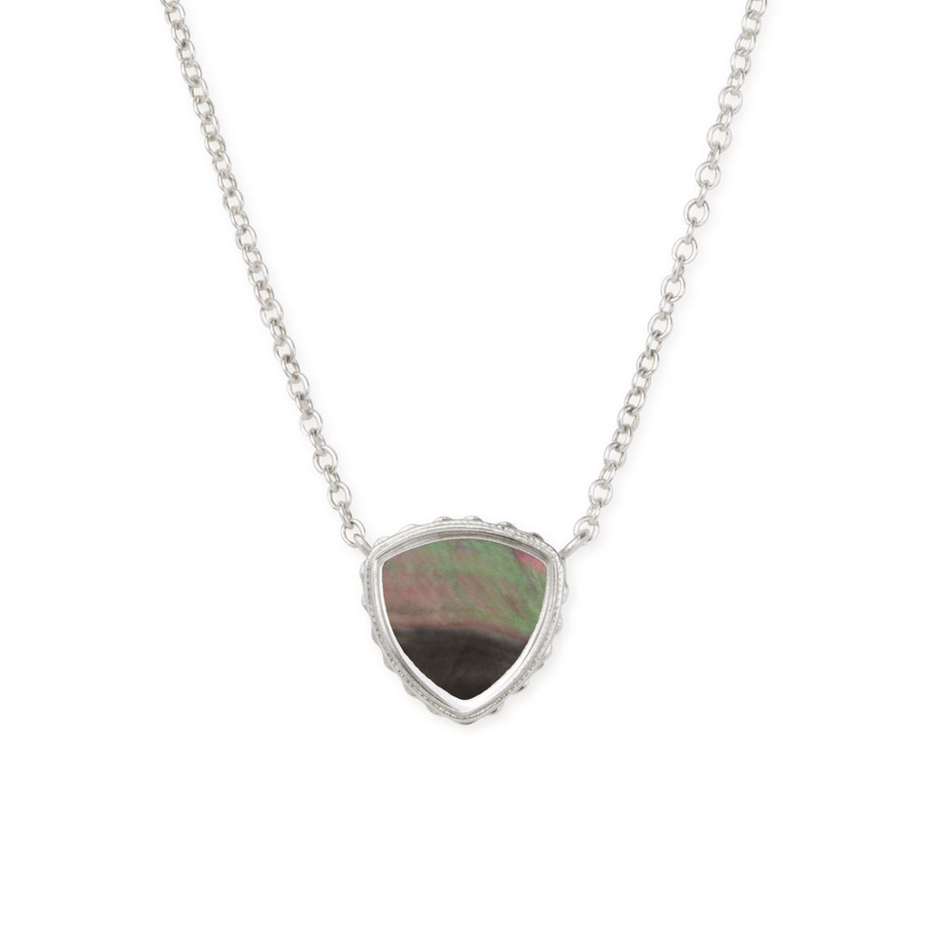 Sterling Silver Trillion Necklace In Tahiti Mother of Pearl-Precious Metals Pendant-finish:Sterling Silver-Luca + Danni