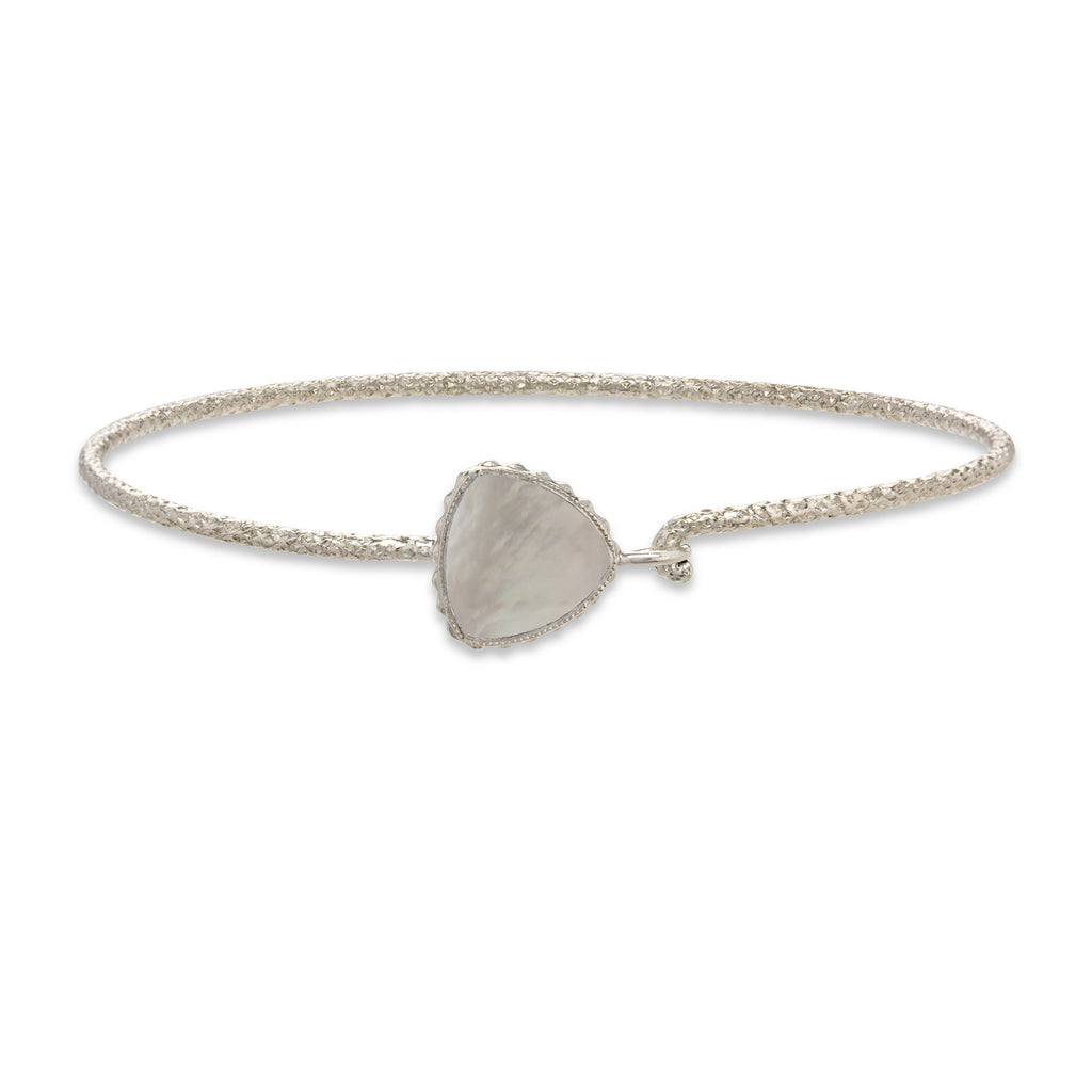 Sterling Silver Trillion Bangle Bracelet In Mother of Pearl-Precious Metals Bracelet-Regular-finish:Sterling Silver-Luca + Danni